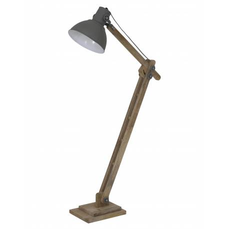 Lampadaire Electrique Tendance ELMER Luminaire Loft Industriel en Bois et Métal Couleur Gris Ciment 26x84x125cm