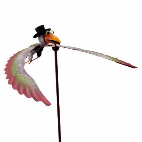 Mobile Corbeau de Jardin à Vent Tuteur sur Tige pour Plantes Armature en Fer à Planter 50x50x133cm