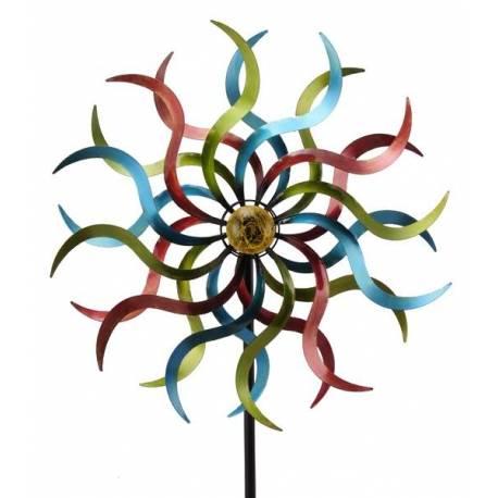 Grand Mobile Solaire Pic Tuteur de Jardin Eolienne Moulin à Vent Double Hélices en Fer Coloré 53x184cm