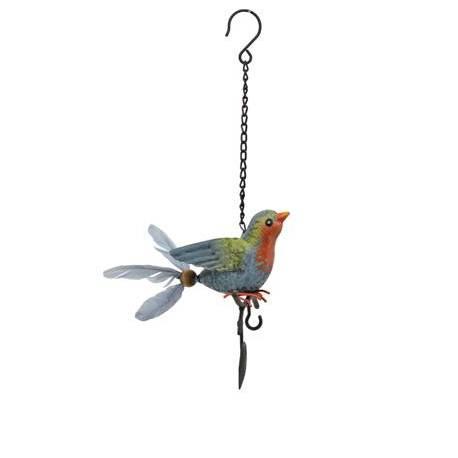 Superbe Mobile Oiseau à Accrocher Crochet à Suspendre Décoratif en Métal Patiné Plumes Grises 15x16x38cm