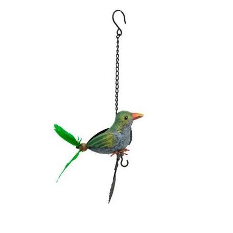 Superbe Mobile Oiseau à Accrocher Crochet à Suspendre Décoratif en Métal Patiné Plumes Vertes 15x16x38cm