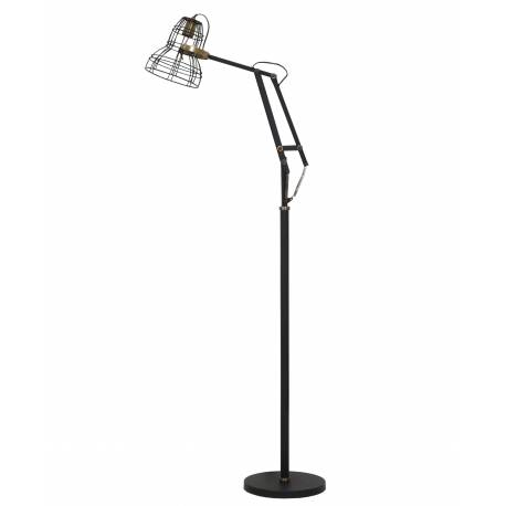 Eclairage Style Industriel JACKSON Luminaire d'Appoint Electrique Lampadaire Articulé en Métal Noir 30x50x170cm
