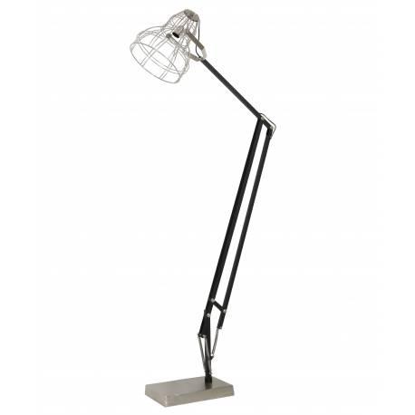 Eclairage Industriel SALVATOR Luminaire d'Appoint Electrique Lampadaire Articulé en Métal Noir et Nickel 30x90x200cm