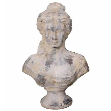 Magnifique Buste Femme à Poser ou Statue Statuette Décorative Féminine en Terre Cuite Ton Pierre 16x24x36cm