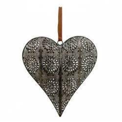 Coeur Décoratif en 3D à Poser ou à Suspendre Décoration Murale en Fer Patiné Gris 5,5x24x26cm