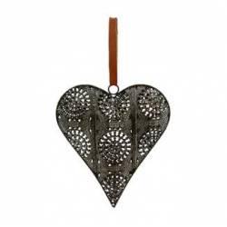 Coeur Décoratif en 3D à Poser ou à Suspendre Décoration Murale en Fer Patiné Gris 4x18x19,5cm