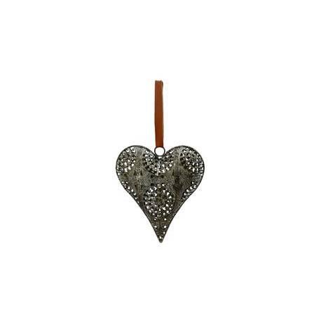 Coeur Décoratif en 3D à Poser ou à Suspendre Décoration Murale en Fer Patiné Gris 3,5x14,5x16cm