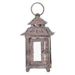 Lanterne Lampion Carré ou Bougeoir de Jardin Intérieur Extérieur en Fer Gris Antique 9x9x23cm