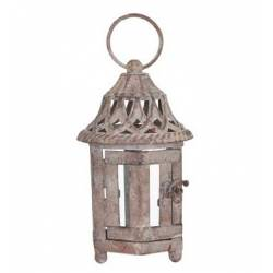 Séduisante Lanterne Hexagonale ou Bougeoir de Jardin Intérieur Extérieur en Fer Gris Antique 9x9x23cm