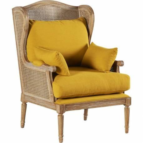 fauteuil bastide cann marque hanjel banquette 1 personne si ge de salon en ch ne et tissu. Black Bedroom Furniture Sets. Home Design Ideas