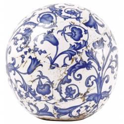 Superbe Boule Décorative à Poser Objet de Déco Sphère en Terre Cuite Emaillée Motifs Fleurs Bleues Ø13cm