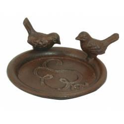 Coupelle Style Bain d'Oiseaux ou Mangeoire Porte Savon Vide Poche Forme Ronde avec Deux Oiseau en Fonte Patinée Marron 5x12,5cm