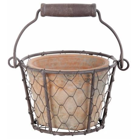 Joli Petit Panier Décoratif avec Anse et Son Pot en Terre Cuite Intérieur ou Extérieur Panière Grillagée en Fer 9,5x13x15,5cm
