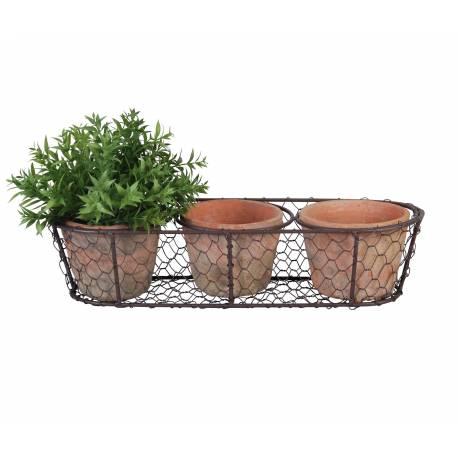 Panier Décoratif à Poser Set de 3 Pots en Terre Cuite Intérieur et Extérieur Panière Grillagée 8,5x13,5x37cm