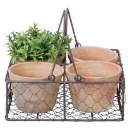 Panier Décoratif à Poser Set de 4 Pots en Terre Cuite Intérieur et Extérieur Panière Grillagée 10,5x23,5x23,5cm