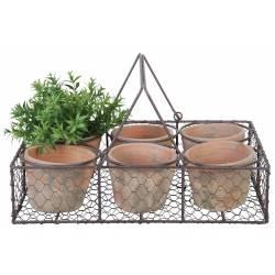 Panier Décoratif à Poser Set de 6 Pots en Terre Cuite Intérieur et Extérieur Panière Grillagée 10,5x25,5x37,5cm