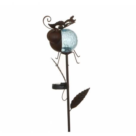 Tuteur Solaire Pic de Jardin Lumineux Tige avec Motif Coccinelle en Fer Patiné et Boule en Verre Craquelé Bleu 12x13,5x87cm