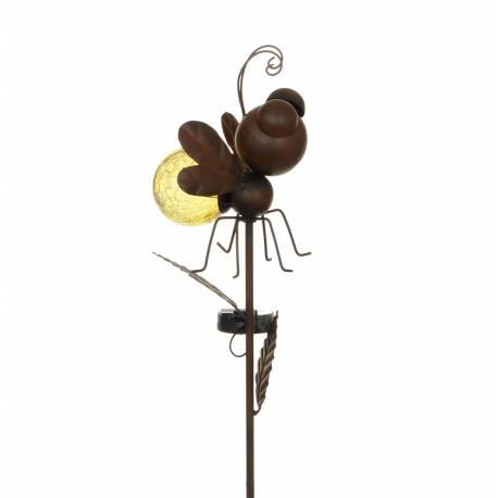 tuteur solaire pic de jardin lumineux tige avec motif abeille en fer patin et boule en verre. Black Bedroom Furniture Sets. Home Design Ideas