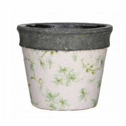 Cache Pot ou Jardinière Motifs Fleurs Vertes Façon Poterie Ancienne en Terre Cuite Ton Pierre 10,5x11,5cm
