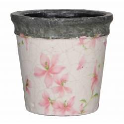 Cache Pot ou Jardinière Motifs Fleurs Roses Façon Poterie Ancienne en Terre Cuite Ton Pierre 13,5x14,5cm