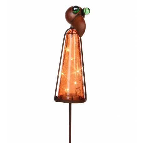 Grand Tuteur Solaire Pic de Jardin Lumineux Tige Motif Perroquet en Fer Patiné et Boule en Verre Craquelé Orange 9,5x12x183cm