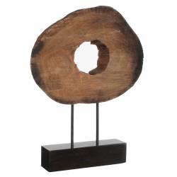 Elégante Sculpture MANCHA en Bois Naturel sur Socle Décoration Contemporaine Tranche de Bois taillée 9x31,5x47,5cm