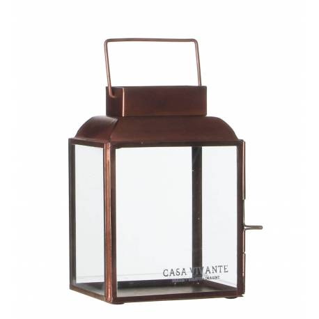 Lanterne AREZZO en Verre Bougeoir Rectangulaire ou Lampe Tempête Intérieur Extérieur en Métal Patiné Cuivre 9,5x13x18cm