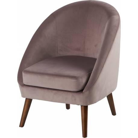 Fauteuil Dorine Marque Hanjel Siège de Salon Style Scandinave en Pin Hévéa et Velours Digue 60x67x74cm