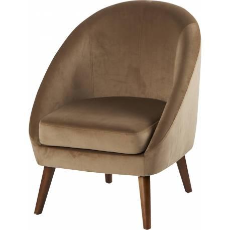 Fauteuil Dorine Weimar Siège de Salon Chic et Confort Style Scandinave en Pin Hévéa et Velours 60x67x74cm