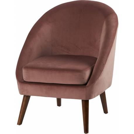 Fauteuil Dorine Marque Hanjel Siège de Salon de Caractère Confort Style Scandinave en Pin Hévéa Velours Weimar 60x67x74cm
