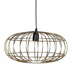 Superbe Suspension Cage Lustre Tendance Luminaire à Suspendre Plafonnier Eclairage 1 Ampoule en Acier Patiné Or 40x150cm