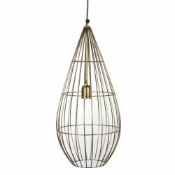 Superbe Suspension Cage Lustre Tendance Luminaire à Suspendre Plafonnier Eclairage 1 Ampoule en Acier Patiné Or 28x28x65cm