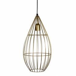 Superbe Suspension Cage Lustre Tendance Luminaire à Suspendre Plafonnier Eclairage 1 Ampoule en Acier Patiné Or 23x23x50cm