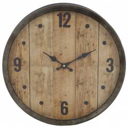 Horloge Murale avec Vitre en Plexiglass Pendule de Cuisine Fond Imitation Bois Entourage Métal Patiné Zinc Vieilli 6x40x40cm