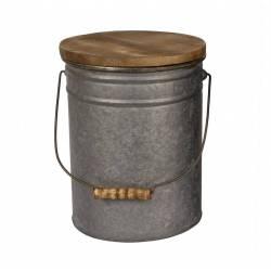 Seau Laitier avec Anse et Couvercle Rangement Tabouret Poubelle Bout de Canapé Pot de Laitier Métal Galvanisé 25x32cm