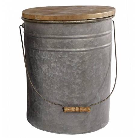 Grand Seau Laitier avec Anse et Couvercle Rangement Tabouret Poubelle Bout de Canapé Pot de Laitier Métal Galvanisé 33x42cm
