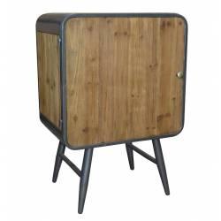 Séduisante Commode sur Pieds CARGO Meuble de Rangement Tendance Vintage en Bois Vieilli et Métal Patiné Gris 34x50x73,50cm