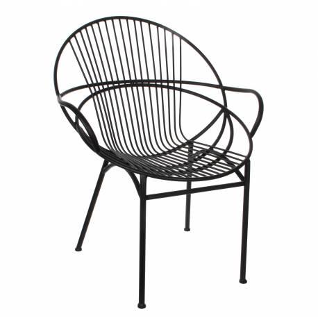 Fauteuil Chaise Siège de Salon ou Salon de Jardin Intérieur Extérieur Acier Patiné Noir 68x69x87cm