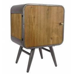Table de Chevet CARGO Meuble de Rangement Tendance Vintage en Bois Vieilli et Métal Patiné Gris 30x40x55cm
