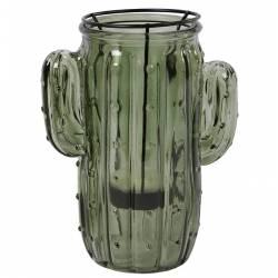 Photophore Bougeoir Cactus Porte Bougie Ambiance Latine Lanterne Intérieur Extérieur en Verre Teinté Vert 6,5x8x16cm