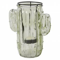 Photophore Bougeoir Cactus Porte Bougie Ambiance Latine Lanterne Intérieur Extérieur en Verre Teinté Vert Pale 6,5x8x16cm
