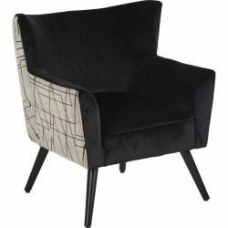 Fauteuil Wayne Arcona Graphique Marque Hanjel Siège de Salon Esprit Vintage en Pin Contreplaqué et Tissu Velours Noir 66x70x77cm