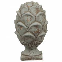 Pomme de Pin Obélisque Epis de Faîtage Décoratif Façon Artichaut en Terre Cuite Patinée Vert Antique 15x15x25cm