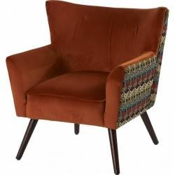 Fauteuil Wayne Arcona Orange Marque Hanjel Siège de Salon Art Déco en Pin Contreplaqué Velours et Tissu à Motifs 66x70x77cm