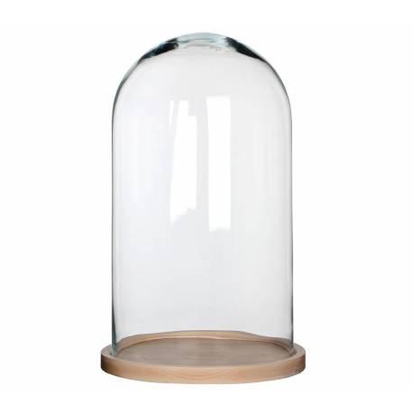 Grande Cloche en Verre Décorative sur Socle en Bois Forme Ronde Décoration à Composer 20,5x23,5x39cm