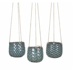 Ensemble de 3 Pots Motifs Ecailles de Poissons Jardinières à suspendre Cache Pots en Céramique Bleu Turquoise 11,5x11,5x68cm