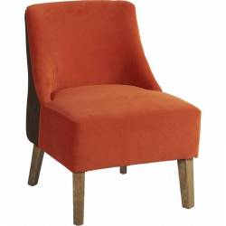 Fauteuil Crawford Marque Hanjel Siège de Salon Style Scandinave en Chêne et Tissu Marron et Orange 53x54x72cm