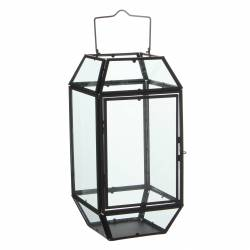 Lanterne à Poser ou Lampe 12 Vitres Lampion Style Industriel Photophore à Suspendre en Fer et Verre Patiné Noir 17,5x36x44,5cm