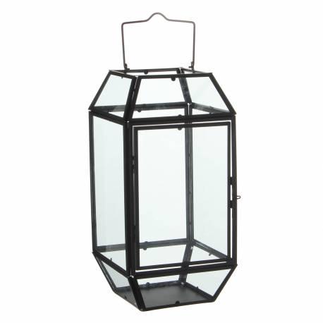 lanterne poser lampe 12 vitres lampion style industriel photophore suspendre en fer et verre. Black Bedroom Furniture Sets. Home Design Ideas