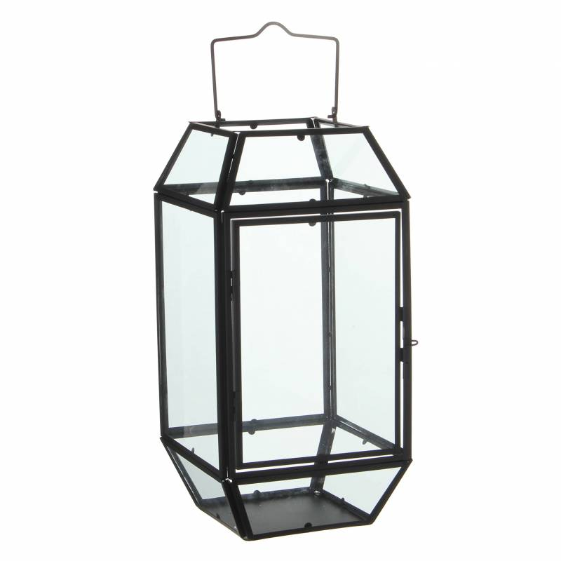 lanterne poser lampe 12 vitres lampion style industriel photophore suspendre en fer et verre. Black Bedroom Furniture Sets. Home Design Ideas